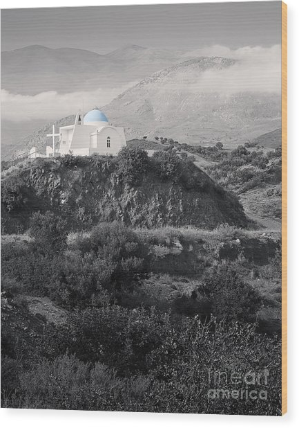 Blue-domed Church In The Mountains Wood Print by Royce Howland