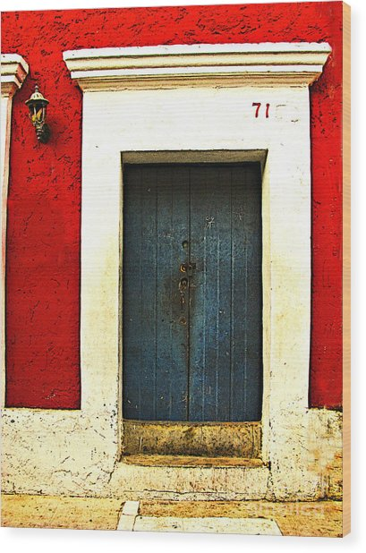 Blue Door By Michael Fitzpatrick Wood Print by Mexicolors Art Photography