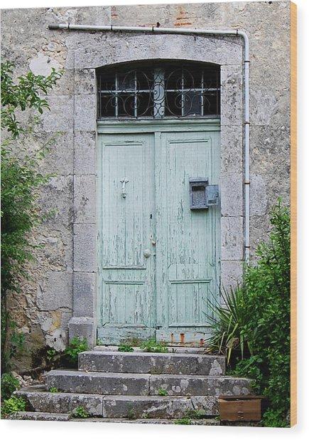 Blue Door In Vianne France Wood Print