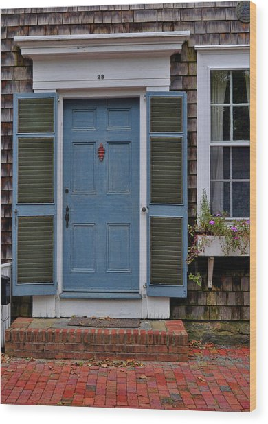 Nantucket Blue Door Wood Print by JAMART Photography