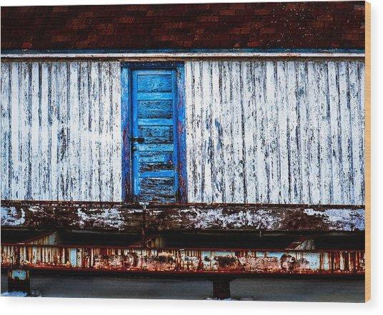 Blue Door Old Mill Building Wood Print