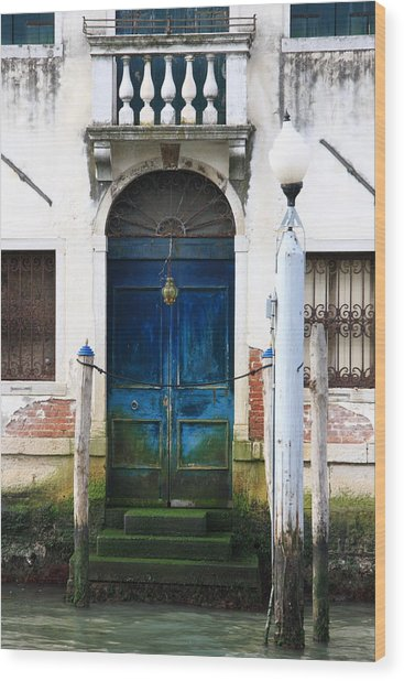 Blue Door On Grand Canal In Venice Wood Print by Michael Henderson