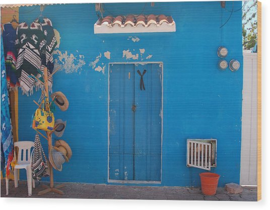 Blue Doors In Mexico Wood Print by Mary Pearson