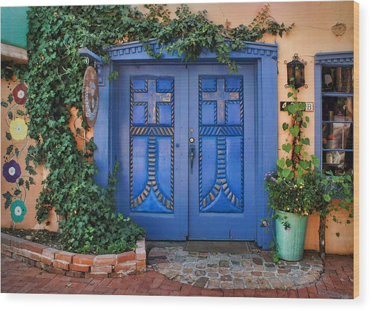 Blue Doors - Old Town - Albuquerque Wood Print