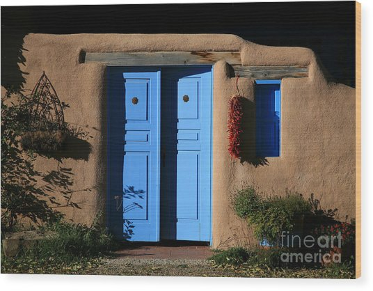 Blue Doors Wood Print