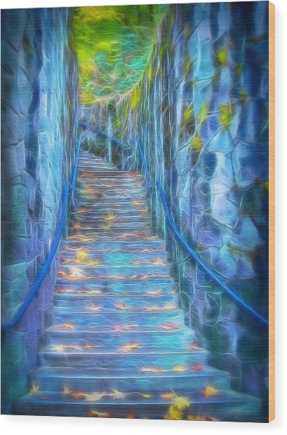 Blue Dream Stairway Wood Print