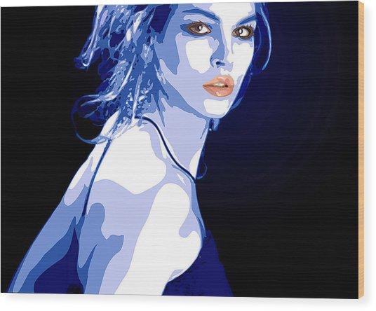 Blue Dress Wood Print by Tanya Byrd