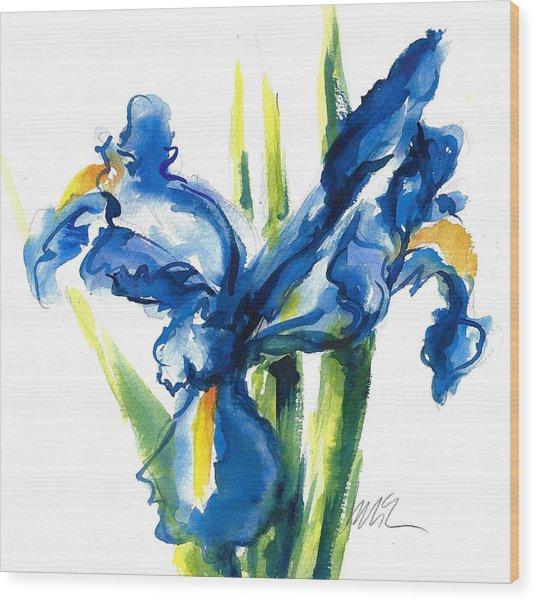 Blue Dutch Iris Flower Painting Wood Print