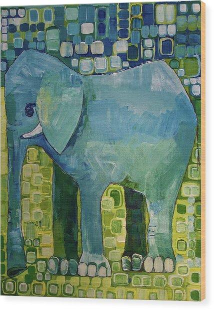 Blue Elephant Wood Print