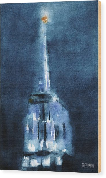 Blue Empire State Building Wood Print