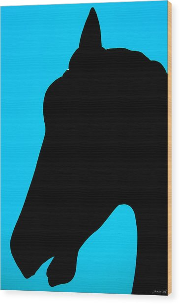 Blue Equus Wood Print