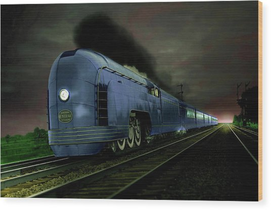 Blue Express Wood Print