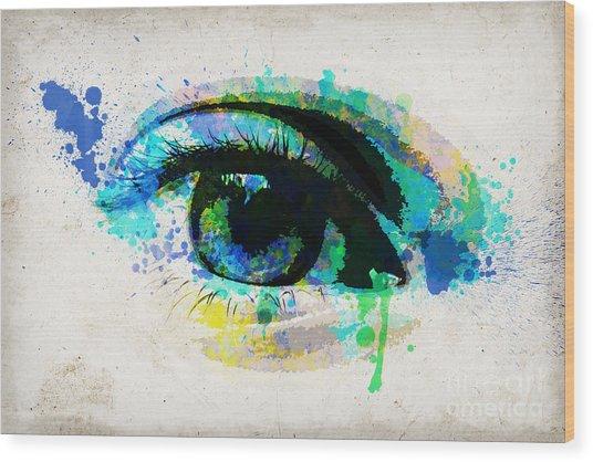 Blue Eye Watercolor Wood Print