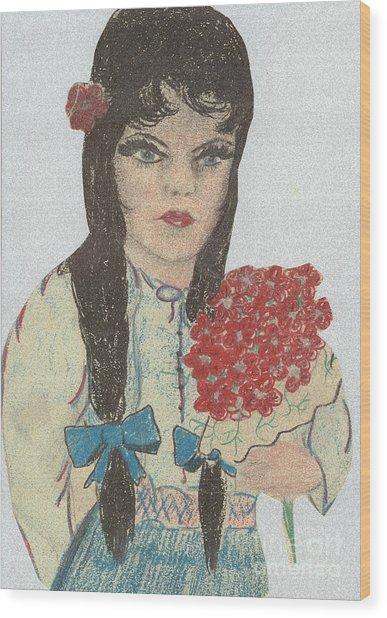 Blue Eyed Black Haired Girl Wood Print