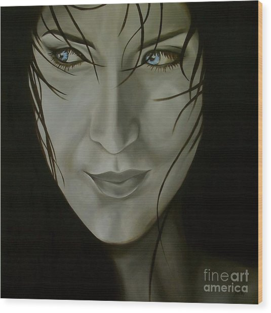 Blue-eyed Girl Wood Print