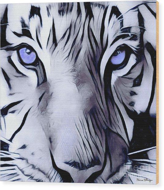 Blue Eyed Tiger Wood Print