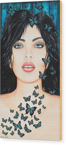 Wood Print featuring the painting Blue Eyes And Butterflies by Dede Koll