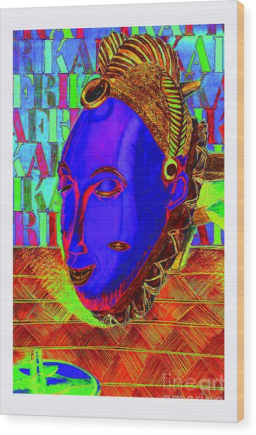 Blue Faced Mask Wood Print by Ronald Rosenberg
