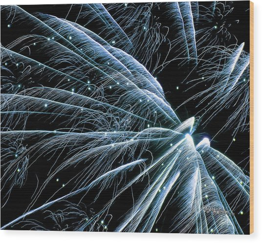 Blue Fairy Fireworks #0710_3 Wood Print