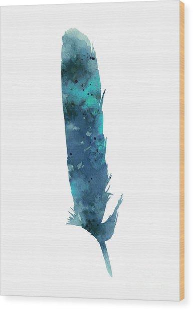 Blue Feather Giclee Print Wood Print