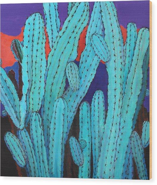 Blue Flame Cactus Acrylic Wood Print