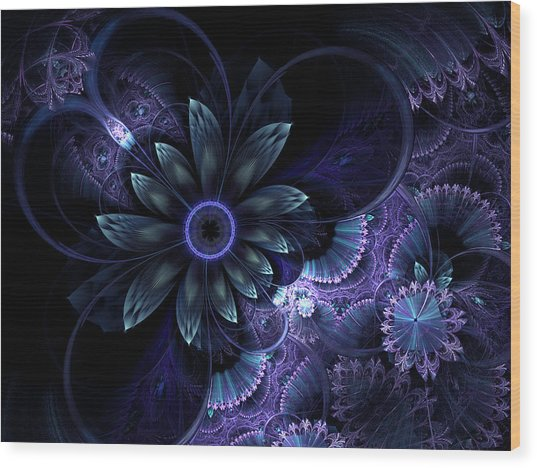 Blue Fleur And Lace Wood Print