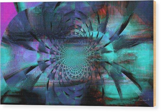 Blue Fleur Wood Print by Fania Simon