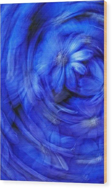 Blue Floral Swirl Wood Print