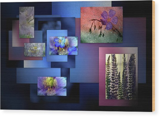 Blue Flower Collage Wood Print