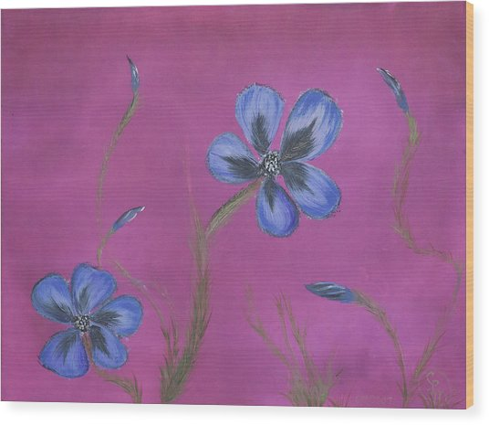 Blue Flower Magenta Background Wood Print