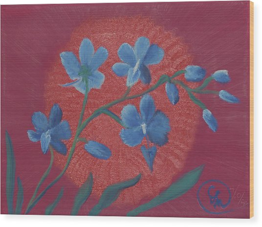 Blue Flower On Magenta Wood Print