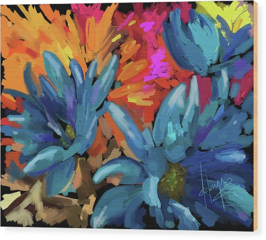 Blue Flowers 2 Wood Print