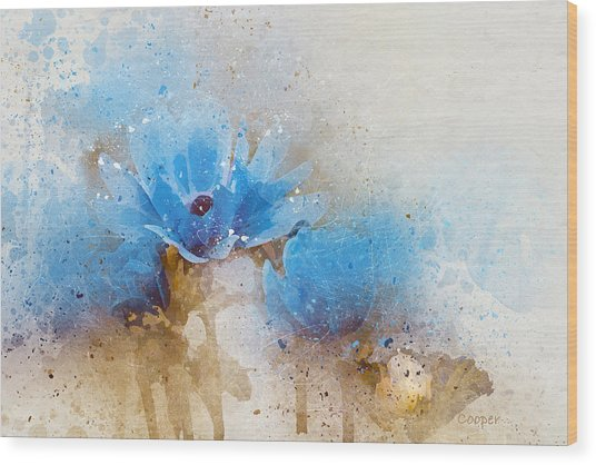 Blue Flowers 4a Wood Print