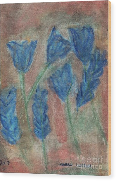 Blue Flowers Wood Print by Amanda Currier