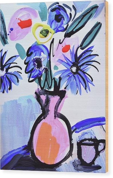 Blue Flowers And Coffee Cup Wood Print