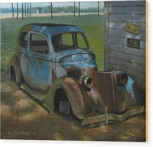 Blue Ford Wood Print by Doug Strickland