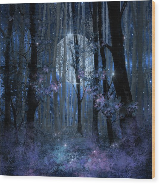 Blue Forest Wood Print