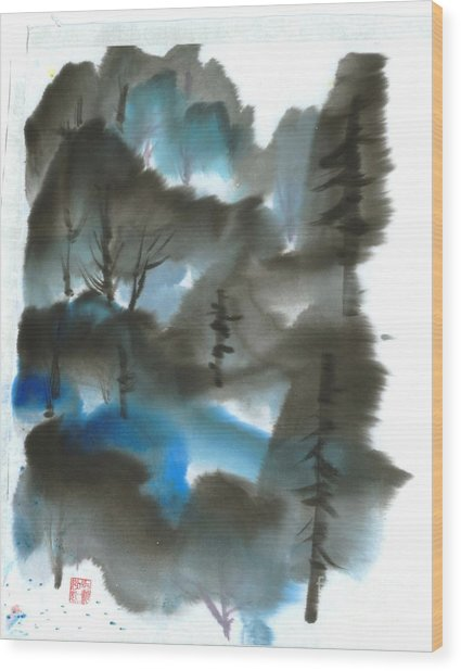 Blue Forest Wood Print by Mui-Joo Wee