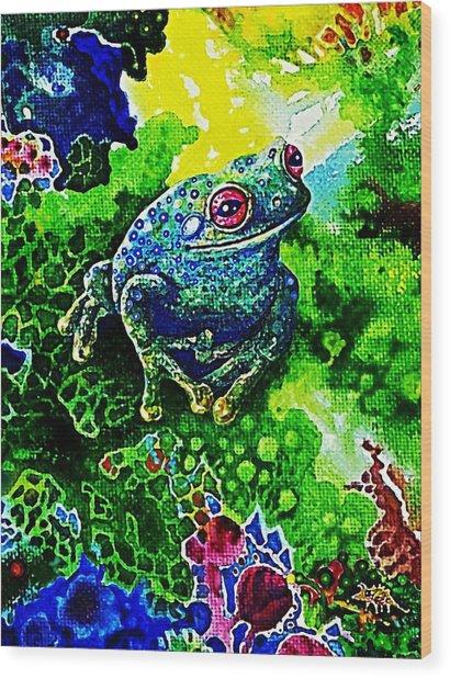 Blue  Frog Wood Print