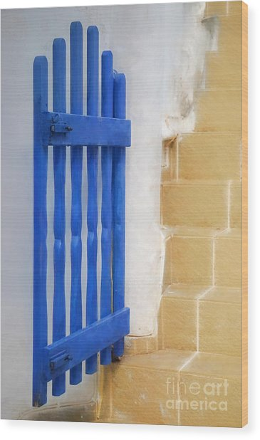 Blue Gate Wood Print by HD Connelly