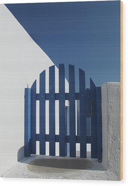 Blue Gate Oia Santorini Wood Print