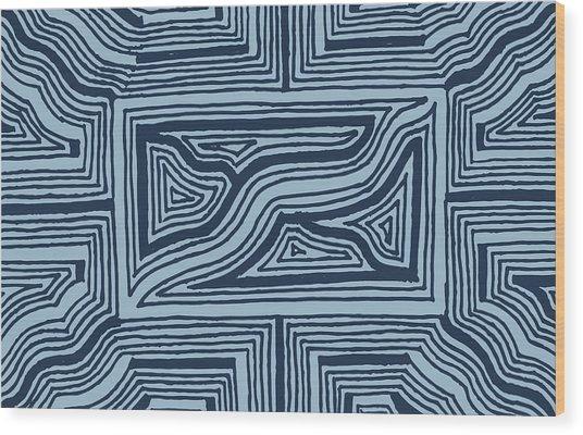 Blue Geo Wood Print
