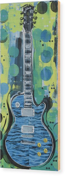 Blue Gibson Guitar Wood Print