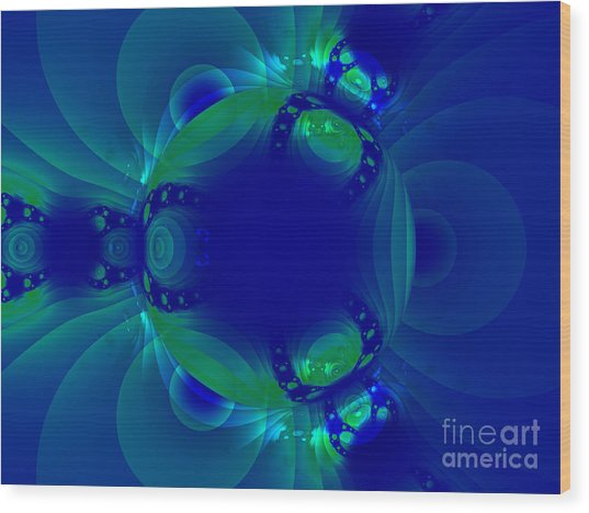 Blue Green Globe Luminant Fractal Wood Print