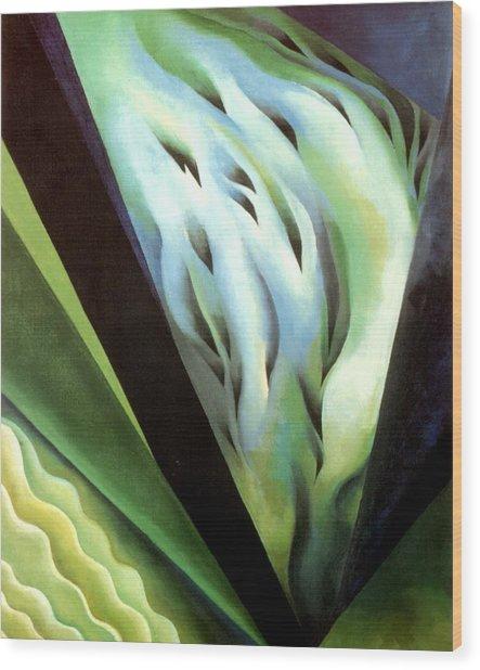 Blue Green Music Wood Print