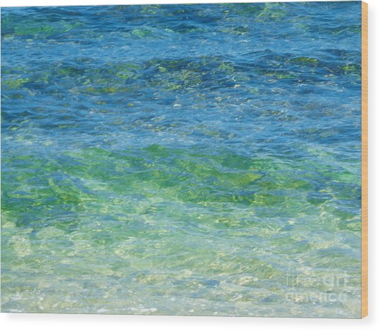 Blue Green Waves Wood Print