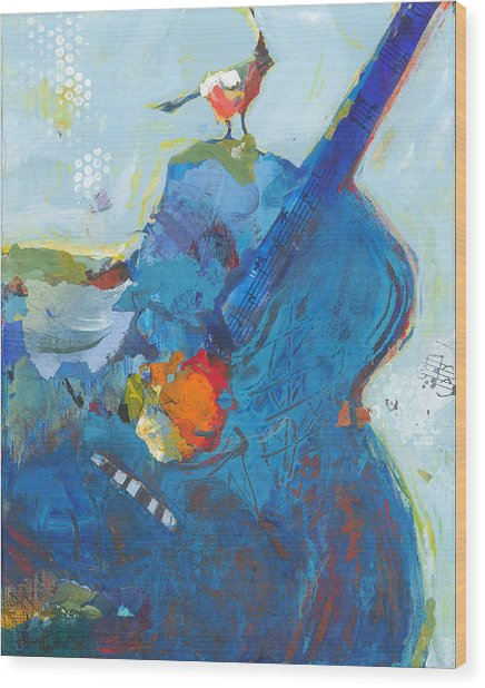 Blue Guitar With Bird Wood Print