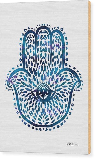 Blue Hamsa Hand Wood Print