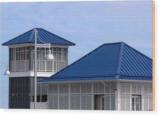 Blue Harbor Roofs Wood Print