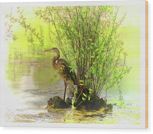 Blue Heron Island Wood Print